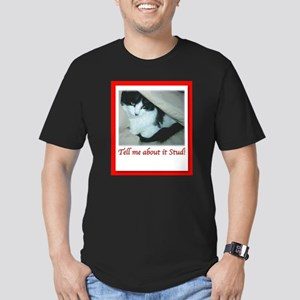 Valentine's Day Black and White Cat Men's Fitted T