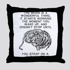 Skydiving Brain Stops Working Funny T-Shirt Throw