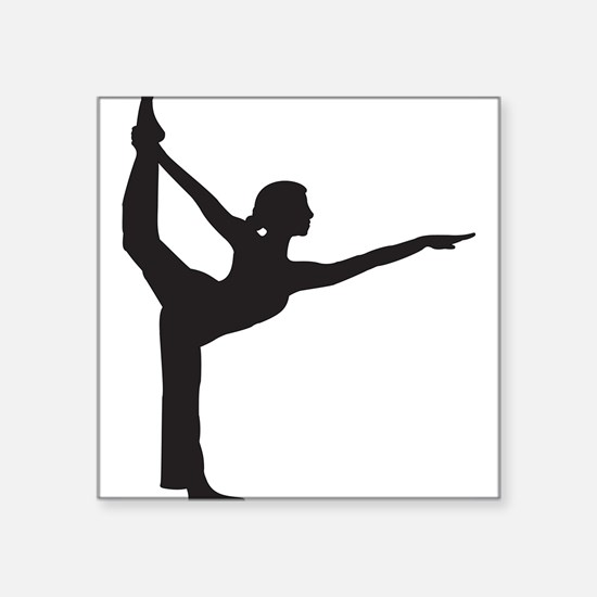 "Bikram Yoga Bow Pose Square Sticker 3"" x 3"""