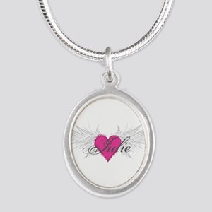 My Sweet Angel Julie Silver Oval Necklace