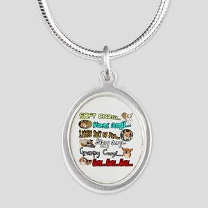 Soft Corgi Silver Oval Necklace