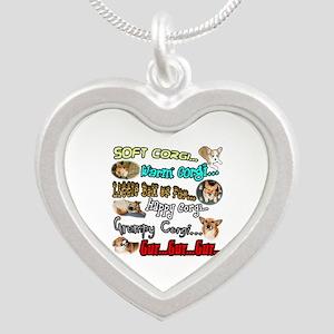 Soft Corgi Silver Heart Necklace