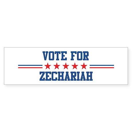 Vote for ZECHARIAH Bumper Sticker