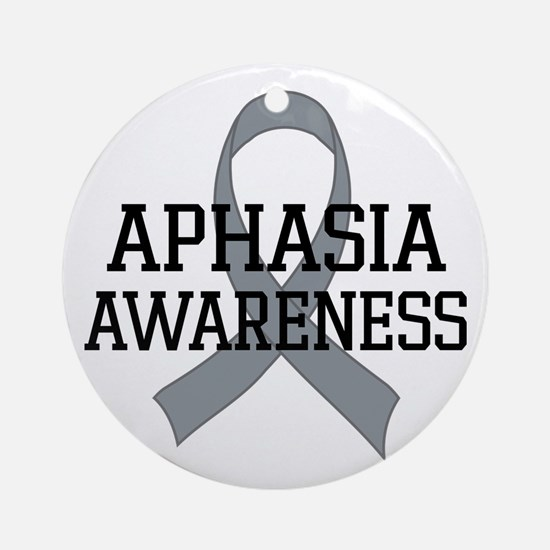 Aphasia Awareness Gray Ribbon Ornament (Round)