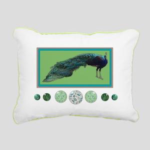 Pop Peacock II Rectangular Canvas Pillow