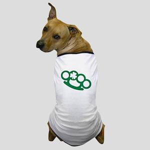 Brass knuckles shamrock irish Dog T-Shirt