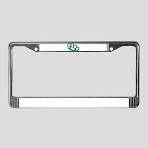 Brass knuckles shamrock irish License Plate Frame