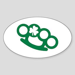 Brass knuckles shamrock irish Sticker (Oval)