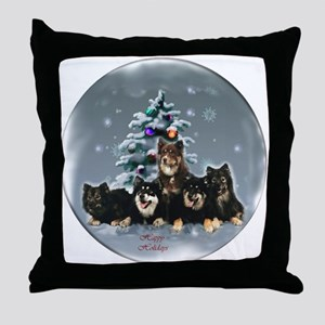 Finnish Lapphund Christmas Throw Pillow