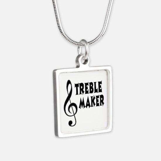 Treble Maker Silver Square Necklace