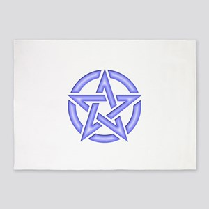 Pale Blue Pentagram 5'x7'Area Rug