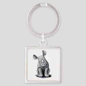 Cute Rhino Square Keychain