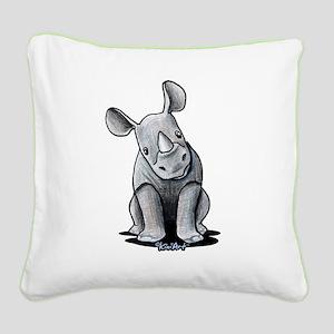 Cute Rhino Square Canvas Pillow