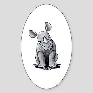 Cute Rhino Sticker (Oval)