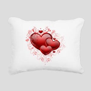 Floral Hearts Rectangular Canvas Pillow