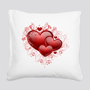 Floral Hearts Square Canvas Pillow
