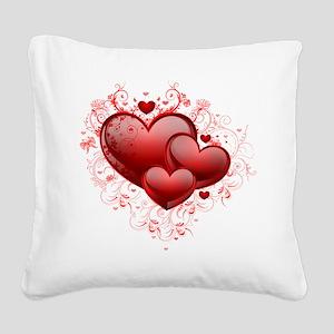 Floral Hearts Square Canvas Pillow