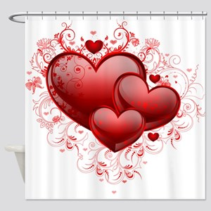 Floral Hearts Shower Curtain