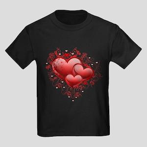 Floral Hearts Kids Dark T-Shirt