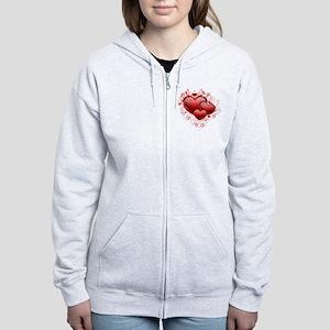 Floral Hearts Women's Zip Hoodie