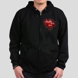 Floral Hearts Zip Hoodie (dark)