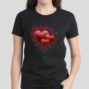 Floral Hearts Women's Dark T-Shirt