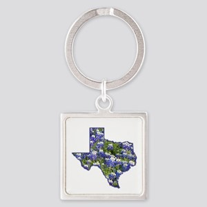 Texas Bluebonnets Square Keychain