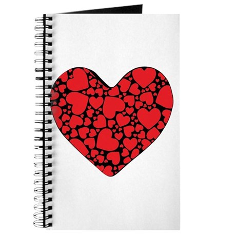 Red Hearts on Black Journal