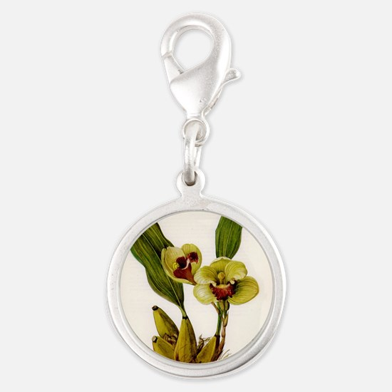 orchid.jpg Silver Round Charm