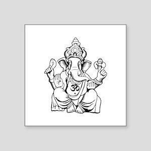 "Lord Ganesha Lines Square Sticker 3"" x 3"""