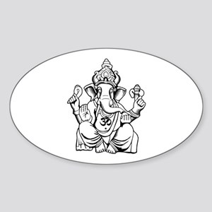 Lord Ganesha Lines Sticker (Oval)