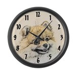Pomeranian (Orange) Large Wall Clock