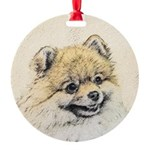 Pomeranian (Orange) Round Ornament