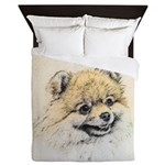 Pomeranian (Orange) Queen Duvet