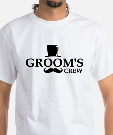 Mustache Groom's Crew White T-Shirt