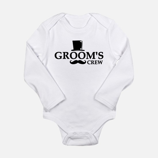 Mustache Groom's Crew Long Sleeve Infant Bodysuit