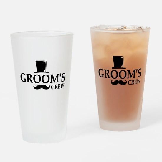 Mustache Groom's Crew Drinking Glass