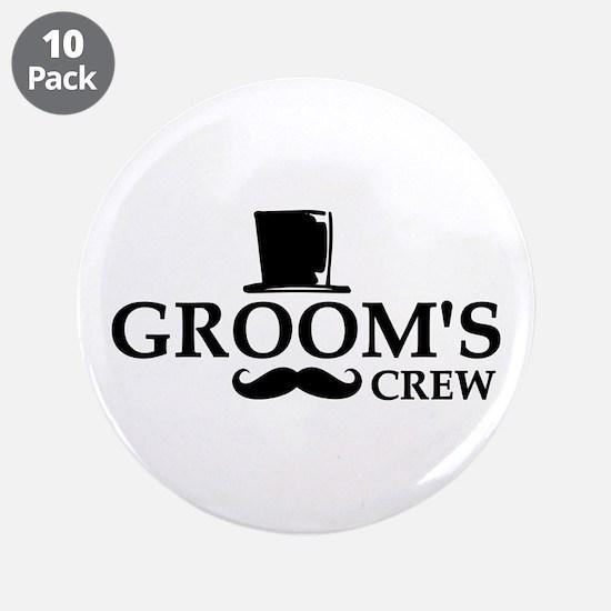"Mustache Groom's Crew 3.5"" Button (10 pack)"