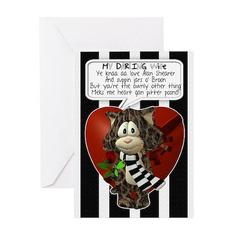 Geordie Wife Valentine's Card With Cat