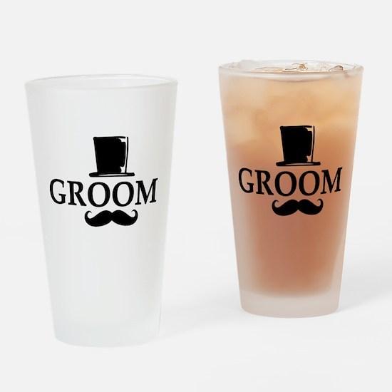 Mustache Groom Drinking Glass