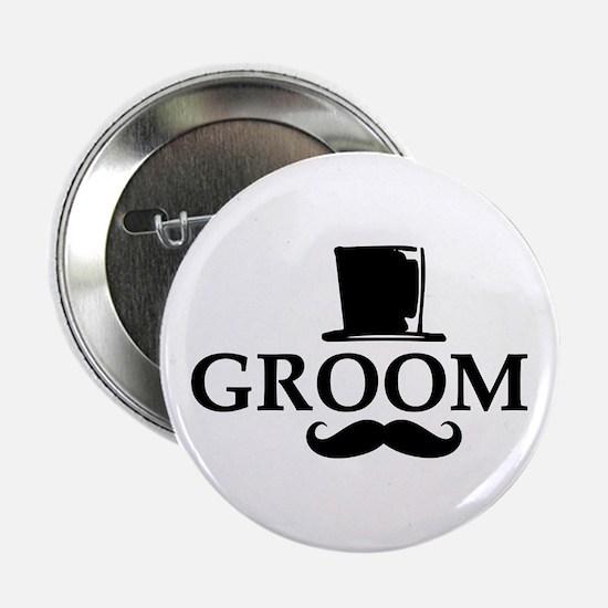 "Mustache Groom 2.25"" Button"