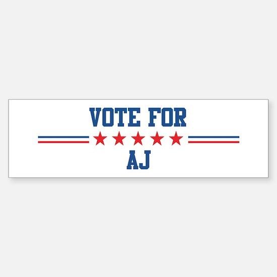 Vote for AJ Bumper Bumper Bumper Sticker