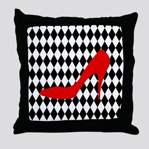 Red Heel on Black and White Diamonds Throw Pillow