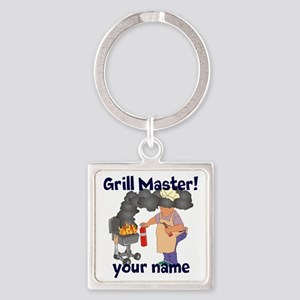 Personalized Grill Master Square Keychain
