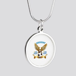 Uruguay Football Design Silver Round Necklace
