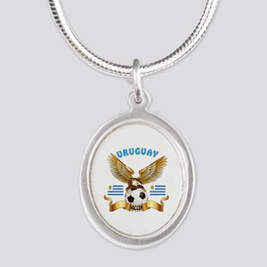 Uruguay Football Design Silver Oval Necklace