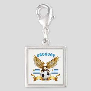 Uruguay Football Design Silver Square Charm