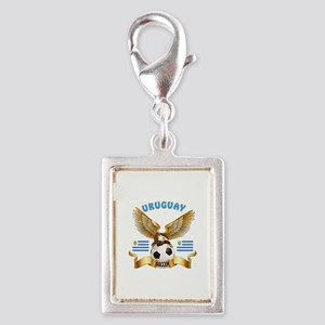 Uruguay Football Design Silver Portrait Charm