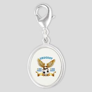Uruguay Football Design Silver Oval Charm