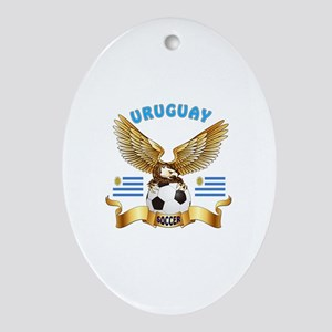 Uruguay Football Design Ornament (Oval)